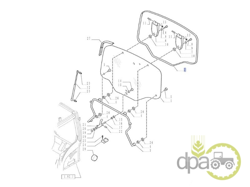 Cheder geam spate New Holland 82027998 - Piese tractor [dpat ro]